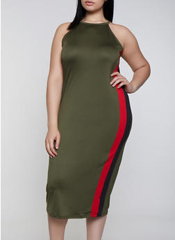 Plus Size Side Stripe High Neck Dress - 0390038349883