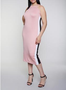 Plus Size Side Stripe High Neck Dress - 0390038349883