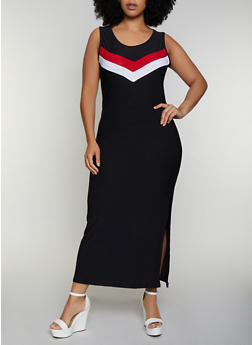 Plus Size Chevron Detail Tank Maxi Dress - 0390038349884