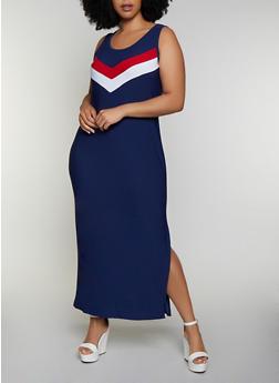 Plus Size Chevron Detail Tank Maxi Dress - 0390038349884