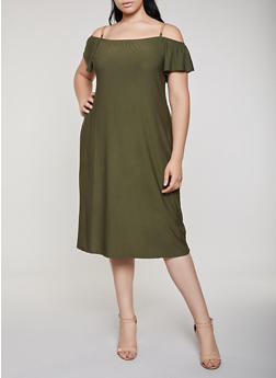 Plus Size Chain Strap Cold Shoulder Shift Dress - 0390038349886