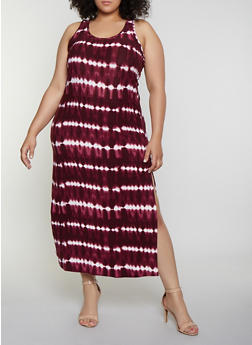 Plus Size Tie Dye Striped Racerback Tank Maxi Dress - 0390038349901