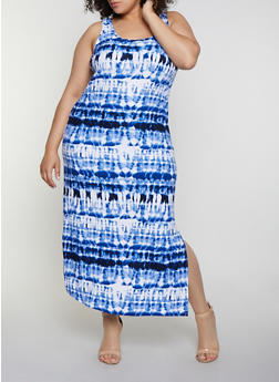 Plus Size Tie Dye Racerback Tank Maxi Dress - 0390038349902