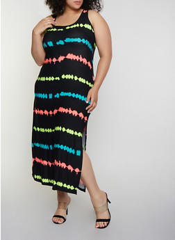 Plus Size Multi Color Striped Tank Maxi Dress - 0390038349903