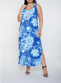 Plus Size Tie Dye Star Print Tank Maxi Dress | 0390038349904 - 0390038349904