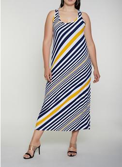Plus Size Diagonal Stripe Maxi Tank Dress - 0390038349907