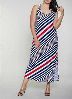 Plus Size Diagonal Stripe Maxi Tank Dress - 0390038349907