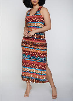 Plus Size Printed Side Slit Tank Maxi Dress - 0390038349908