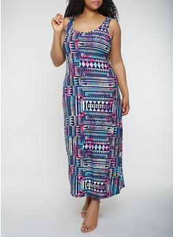 Plus Size Aztec Print Tank Maxi Dress - 0390038349914