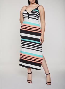 Plus Size Half Button Striped Cami Maxi Dress - 0390038349936
