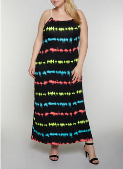 Plus Size Tie Dye Rope Strap Cami Maxi Dress - 0390038349939