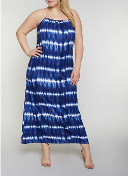 Plus Size Rope Strap Tie Dye Maxi Dress - 0390038349940