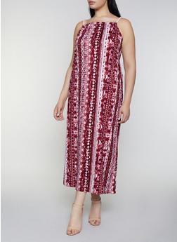 Plus Size Tie Dye Soft Knit Maxi Dress - 0390038349941