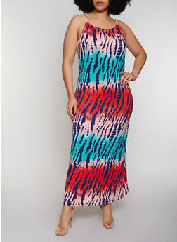 Plus Size Braided Rope Strap Tie Dye Maxi Dress - 0390038349942