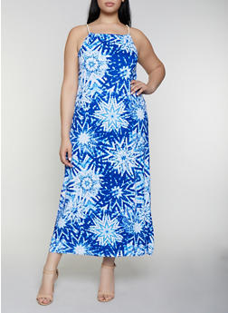 Plus Size Tie Dye Maxi Dress - 0390038349943