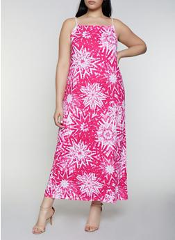 Plus Size Tie Dye Maxi Dress - 0390038349943