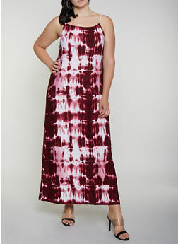 Plus Size Tie Dye Rope Strap Maxi Dress - 0390038349944