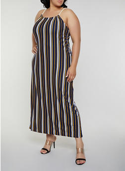 Plus Size Striped Keyhole Back Maxi Dress - 0390038349946