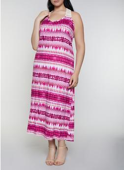 Plus Size Printed Crochet Detail Tank Dress - 0390038349947