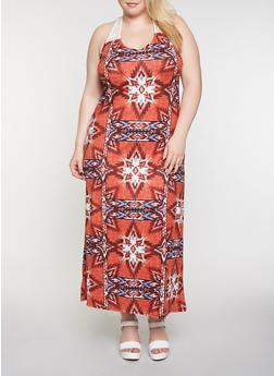 Plus Size Soft Knit Crochet Yoke Maxi Dress - 0390038349948