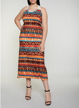 Plus Size Crochet Detail Aztec Print Tank Dress - 0390038349949