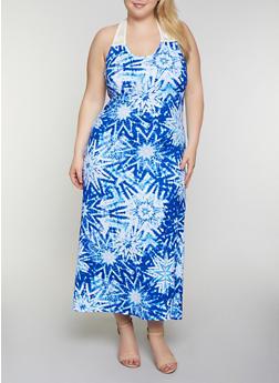 Plus Size Crochet Yoke Tie Dye Tank Maxi Dress - 0390038349951