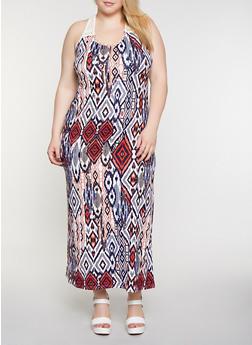 Plus Size Soft Knit Printed Tank Maxi Dress - 0390038349952