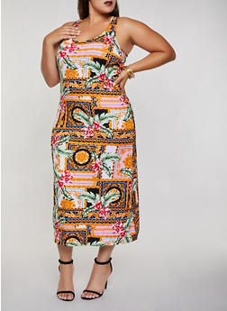 Plus Size Tank Maxi Printed Dress - 0390038349953