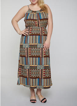 Plus Size Printed Maxi High Neck Dress - 0390038349954