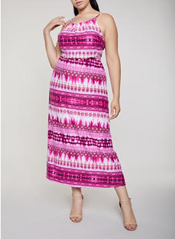 Printed Soft Knit Empire Maxi Dress - 0390038349956