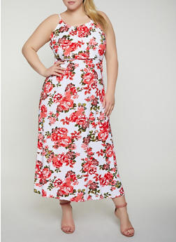 Plus Size Tie Back Floral Maxi Dress - 0390038349957