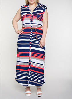 Plus Size Soft Knit Striped Shirt Maxi Dress - 0390038349959