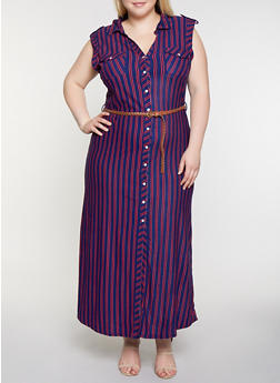 Plus Size Striped Shirt Maxi Dress - 0390038349960