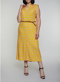 Plus Size Striped Maxi Shirt Dress - 0390038349961