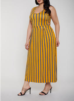 Plus Size Cut Out Detail Maxi Dress - 0390038349965