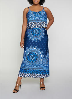 Plus Size Printed Overlay Maxi Dress - 0390038349966
