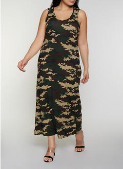 Plus Size Hooded Camo Maxi Tank Dress - 0390038349967