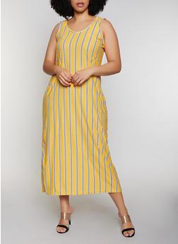 Plus Size Striped Hooded Tank Maxi Dress - 0390038349968