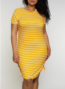 Plus Size Striped Lace Up T Shirt Dress - 0390038349974