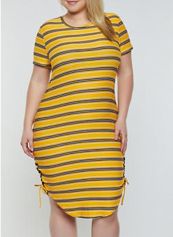 Plus Size Lace Up Side Striped Dress - 0390038349975