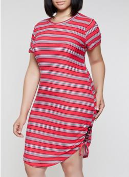 Plus Size Lace Up Side Striped Dress - 0390038349975