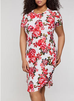 Plus Size Floral Lace Up T Shirt Dress - 0390038349976