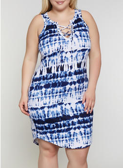 Plus Size Tie Dye Lace Up Tank Dress - 0390038349979