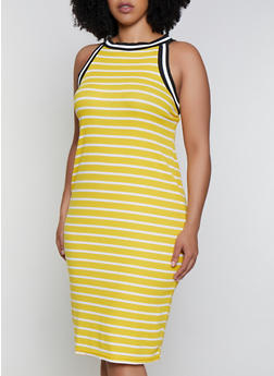 Plus Size High Neck Striped Rib Knit Dress - 0390038349984