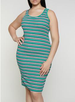 Plus Size Rib Knit Striped Midi Tank Dress - 0390038349986