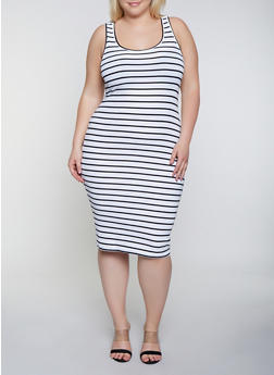 Plus Size Striped Racerback Tank Dress - 0390038349988
