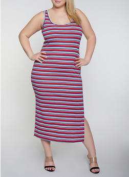 Plus Size Striped Rib Knit Racerback Tank Dress - 0390038349989