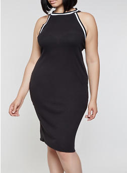 Plus Size Ribbed Contrast Trim Tank Dress - 0390038349994