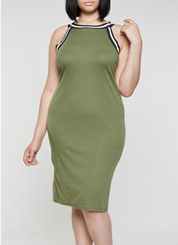 Plus Size Ribbed Contrast Trim Tank Dress - 0390038349994