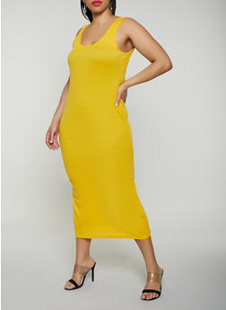 Plus Size Basic Ribbed Knit Tank Dress - 0390038349999